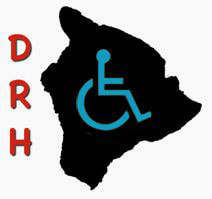 "A black outline map of Hawaii Island with a green  wheelchair symbol inside it. To the left of the map are the initials ""DRH"" printed in red, top to bottom."